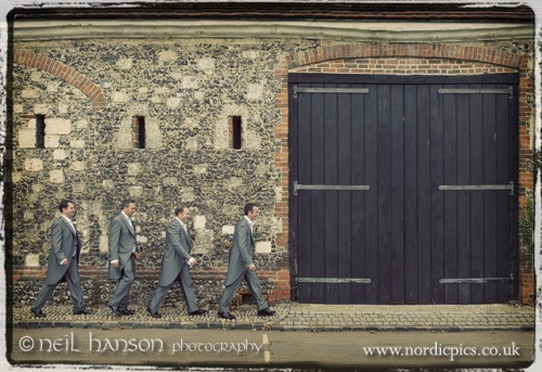 Groom & groomsmen on their way to St Mary's Church Hurley and Bisham Abbey Wedding by Neil Hanson Photography