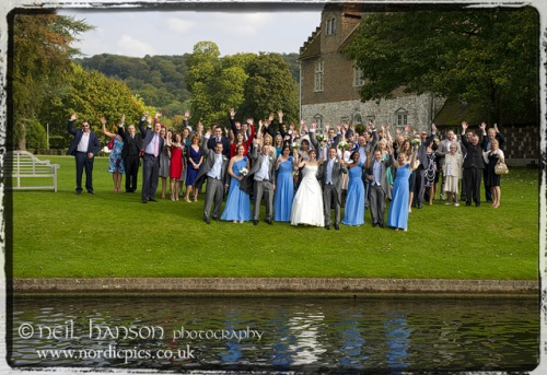 Bisham Abbey Wedding Photography large group shot by Neil Hanson Photographer