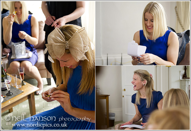 Bridesmaids getting ready for a Wedding at St John's College Oxford