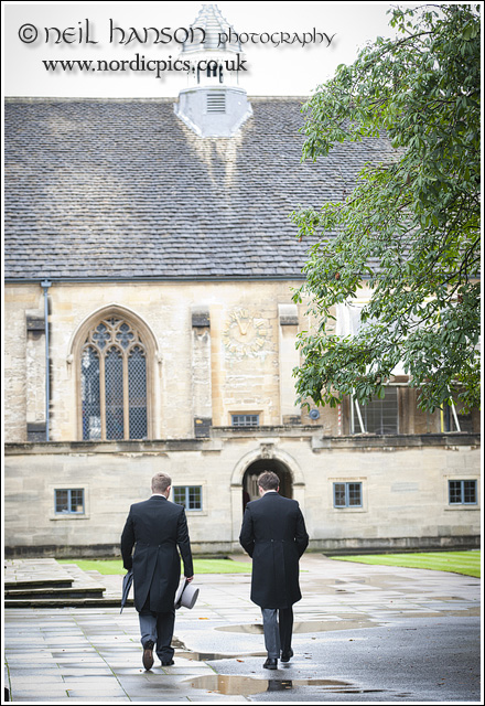 Groom & Best Man at a Wedding at St John's College Oxford