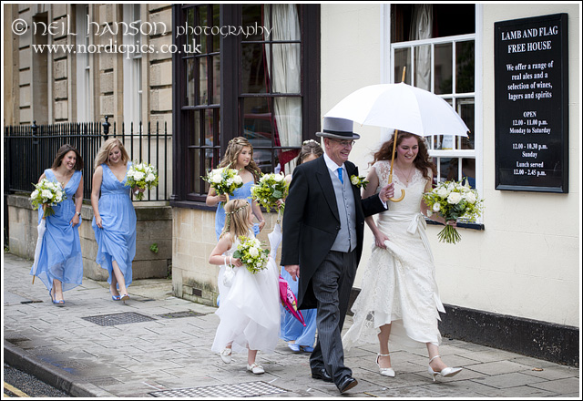 Bride & father walking to the Wedding at St John's College Oxford