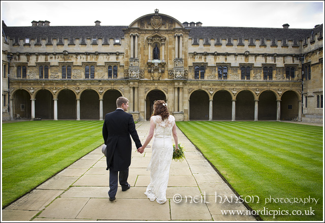 Bride & groom at St John's College Oxford by Neil Hanson Wedding Photography