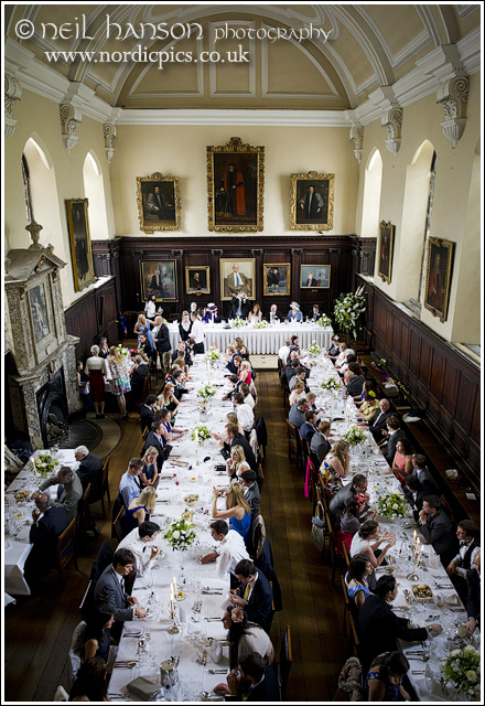 Wedding breakfast at St John's College dining Hall